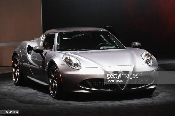Alfa Romeo shows off a 4C Spider with a base price of $65900 at the Chicago Auto Show on February 8 2018 in Chicago Illinois The show is the nation's...