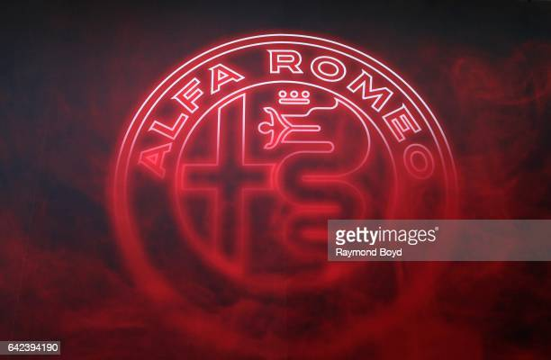 Alfa Romeo signage is on display at the 109th Annual Chicago Auto Show at McCormick Place in Chicago Illinois on February 9 2017