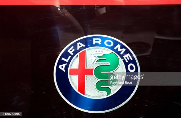 Alfa Romeo signage is on display at the 111th Annual Chicago Auto Show at McCormick Place in Chicago, Illinois on February 8, 2019.