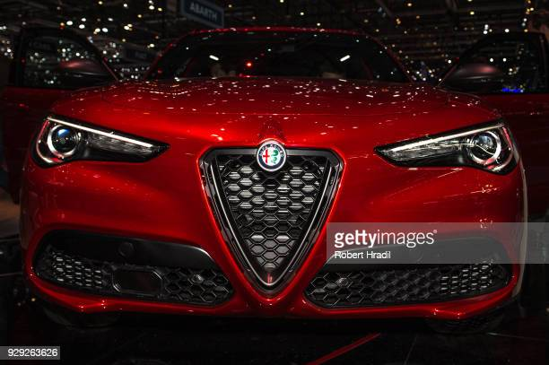 Alfa Romeo Stelvio Quadrifoglio is displayed at the 88th Geneva International Motor Show on March 7 2018 in Geneva Switzerland Global automakers are...