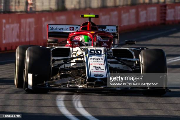 Alfa Romeo's Italian driver Antonio Giovinazzi drives during the second Formula One practice session in Melbourne on March 15 ahead of the Formula...