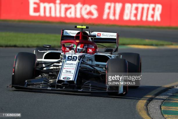 Alfa Romeo's Italian driver Antonio Giovinazzi speeds through a corner during the Formula One qualifying session in Melbourne on March 16 ahead of...