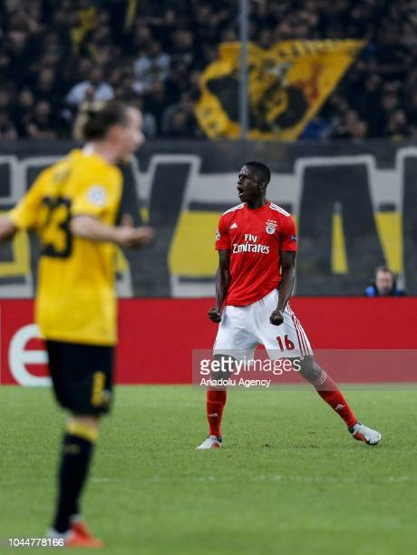 Alfa Semedo of Benfica Lisbon celebrates after scoring a goal during the UEFA Champions League Group E soccer match between AEK Athens and Benfica...