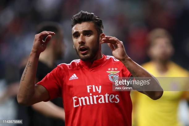 Alfa Semedo of Benfica reacts during the UEFA Europa League Quarter Final Second Leg match between Eintracht Frankfurt and Benfica at...