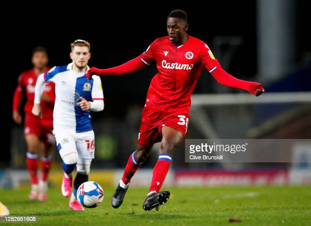 Alfa Semedo of Reading FC in action during the Sky Bet Championship match between Blackburn Rovers and Reading at Ewood Park on October 27 2020 in...