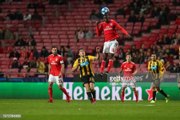 Alfa Semedo of SL Benfica higher heads the ball away during the UEFA Champions League Group E match between SL Benfica and AEK Athens at Estadio da...