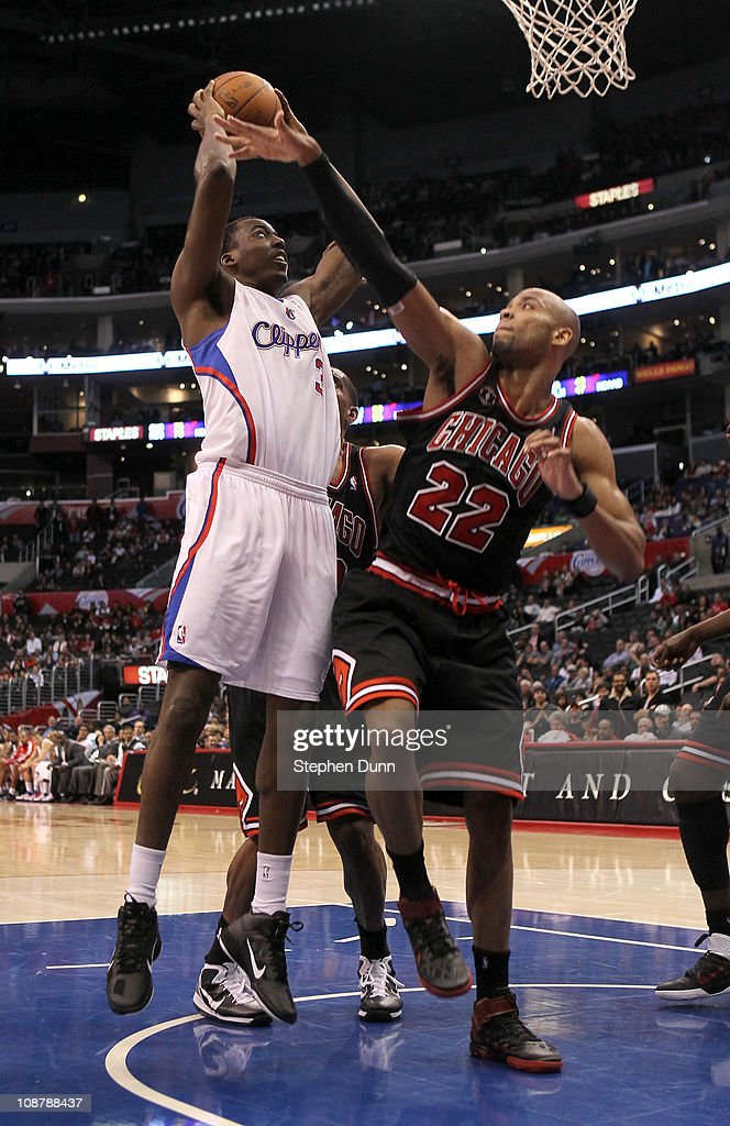 Al-Farouq Aminu #3 of the Los Angeles Clippers shoots over Taj Gibson #22 of the Chicago Bulls at Staples Center on February 2, 2011 in Los Angeles, California. The Bulls won 106-88.