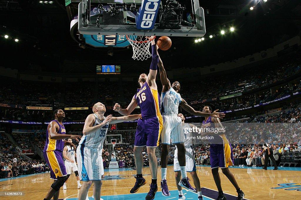 Al-Farouq Aminu #0 of the New Orleans Hornets blocks the shot of Pau Gasol #16 of the Los Angeles Lakers on April 9, 2012 at the New Orleans Arena in New Orleans, Louisiana.