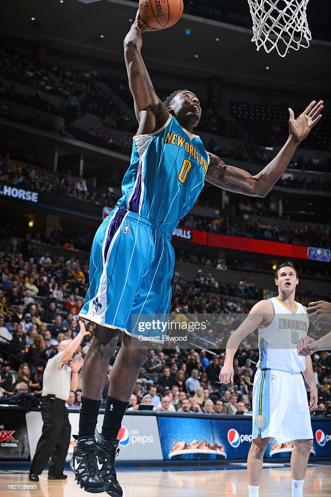 Al-Farouq Aminu #0 of the New Orleans Hornets drives to the basket against the Denver Nuggets on February 1, 2013 at the Pepsi Center in Denver, Colorado.