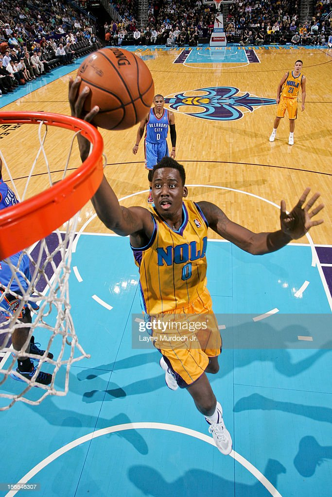 Al-Farouq Aminu #0 of the New Orleans Hornets goes to the basket against the Oklahoma City Thunder on November 16, 2012 at the New Orleans Arena in New Orleans, Louisiana.