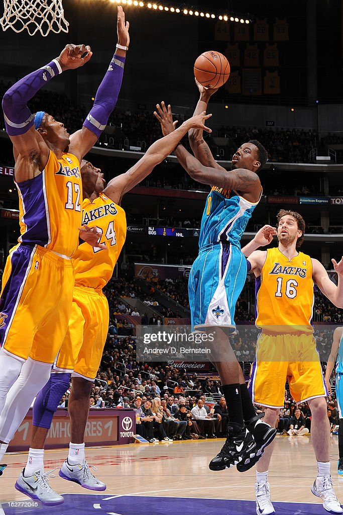 Al-Farouq Aminu #0 of the New Orleans Hornets puts up a shot against the Los Angeles Lakers at Staples Center on January 29, 2013 in Los Angeles, California.