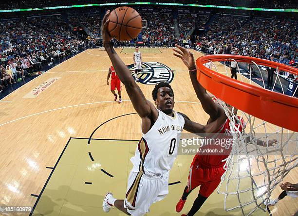 AlFarouq Aminu of the New Orleans Pelicans goes up for a dunk against the Houston Rockets during an NBA game on April 16 2014 at the Smoothie King...