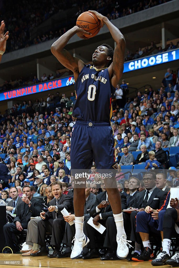 Al Farouq Aminu 0 Of The New Orleans Pelicans Shoots Against Oklahoma City