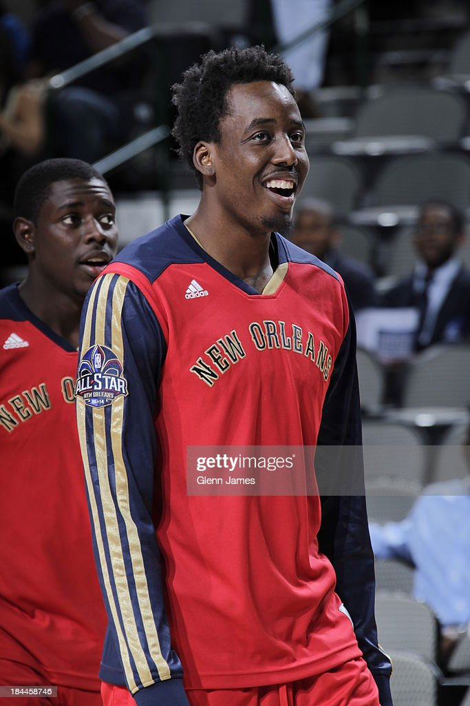 Al-Farouq Aminu #0 of the New Orleans Pelicans warms up before the game against the Dallas Mavericks on October 7, 2013 at the American Airlines Center in Dallas, Texas.