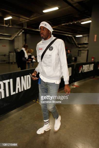 AlFarouq Aminu of the Portland Trail Blazers arrives prior to a game against the Charlotte Hornets on January 11 2019 at the Moda Center Arena in...