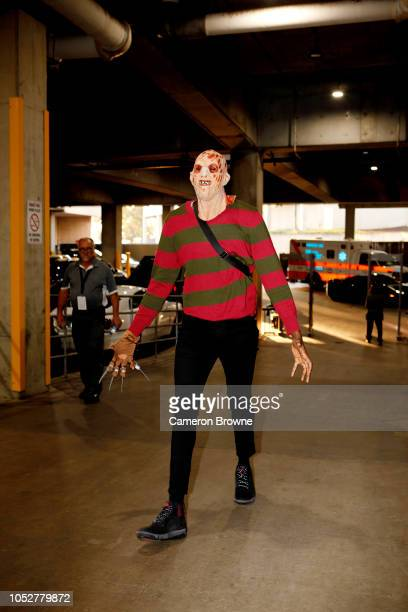 AlFarouq Aminu of the Portland Trail Blazers arrives to the game in a costume against the Washington Wizards on October 22 2018 at the Moda Center in...