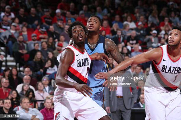 AlFarouq Aminu of the Portland Trail Blazers boxes out Jarell Martin of the Memphis Grizzlies during the game between the two teams on April 1 2018...