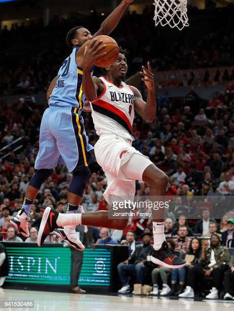 AlFarouq Aminu of the Portland Trail Blazers drives against the Memphis Grizzliesat Moda Center on April 1 2018 in Portland OregonNOTE TO USER User...