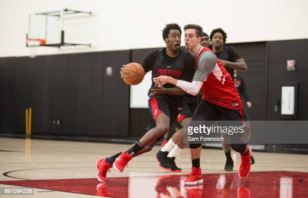 AlFarouq Aminu of the Portland Trail Blazers drives to the basket during an all access practice on December 7 2017 at the Trail Blazer Practice...