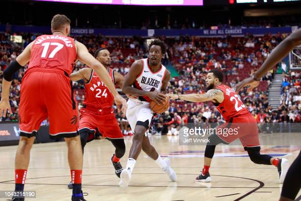 AlFarouq Aminu of the Portland Trail Blazers drives to the basket against the Toronto Raptors during a preseason game on September 29 2018 at Rogers...