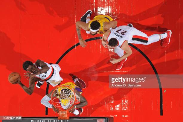 AlFarouq Aminu of the Portland Trail Blazers drives to the basket against the Los Angeles Lakers on October 18 2018 at the Moda Center Arena in...