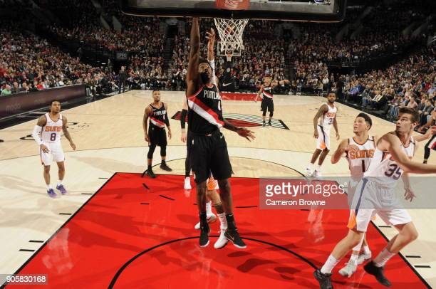 AlFarouq Aminu of the Portland Trail Blazers drives to the basket during the game against the Phoenix Suns on January 16 2018 at the Moda Center in...