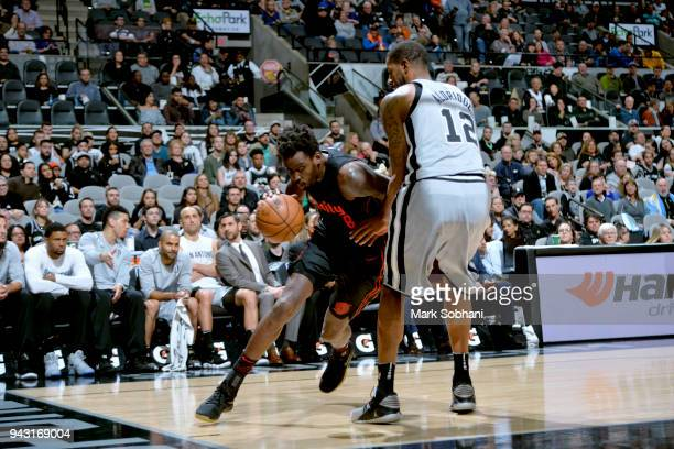 AlFarouq Aminu of the Portland Trail Blazers drives to the basket against the San Antonio Spurs on April 7 2018 at the ATT Center in San Antonio...