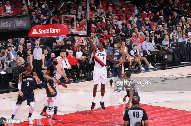 AlFarouq Aminu of the Portland Trail Blazers drives to the basket during the game against the New Orleans Pelicans in Game One of the Western...