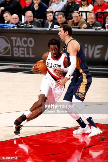 AlFarouq Aminu of the Portland Trail Blazers drives to the basket against the New Orleans Pelicans in Game Two of Round One of the 2018 NBA Playoffs...