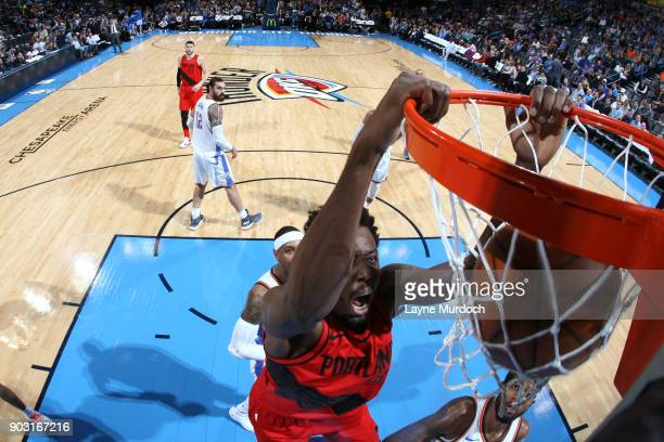 AlFarouq Aminu of the Portland Trail Blazers dunks against the Oklahoma City Thunder on January 9 2018 at Chesapeake Energy Arena in Oklahoma City...