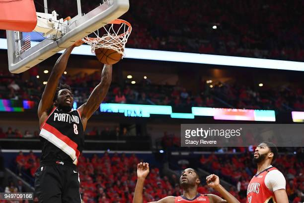 AlFarouq Aminu of the Portland Trail Blazers dunks against the New Orleans Pelicans during the first half of Game Four of the first round of the...