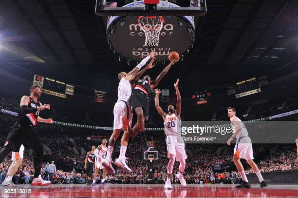 AlFarouq Aminu of the Portland Trail Blazers dunks against the Phoenix Suns on January 16 2018 at the Moda Center in Portland Oregon NOTE TO USER...