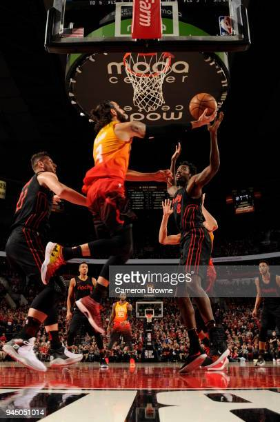 AlFarouq Aminu of the Portland Trail Blazers dunks against the Utah Jazz on April 11 2018 at the Moda Center in Portland Oregon NOTE TO USER User...