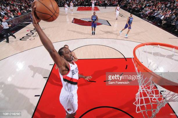 AlFarouq Aminu of the Portland Trail Blazers dunks the ball against the Charlotte Hornets on January 11 2019 at the Moda Center Arena in Portland...