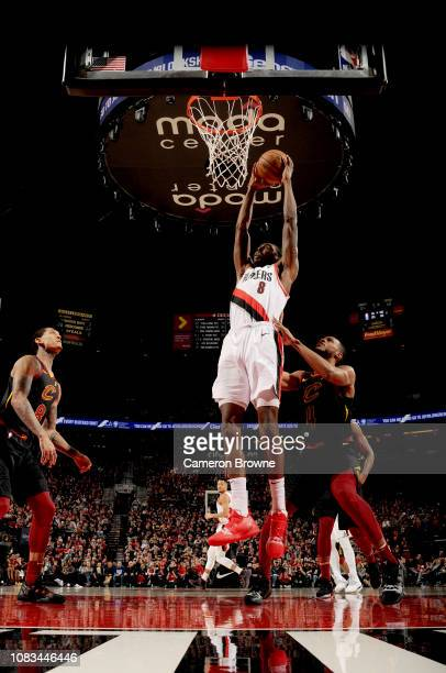 AlFarouq Aminu of the Portland Trail Blazers dunks the ball against the Cleveland Cavaliers on January 16 2019 at the Moda Center in Portland Oregon...