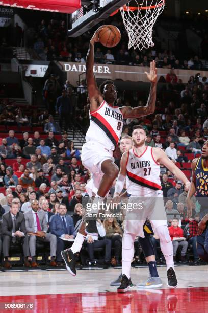 AlFarouq Aminu of the Portland Trail Blazers dunks the ball during the game against the Indiana Pacers on January 18 2018 at the Moda Center in...