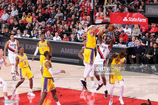 AlFarouq Aminu of the Portland Trail Blazers goes to the basket against the Los Angeles Lakers on October 18 2018 at the Moda Center in Portland...