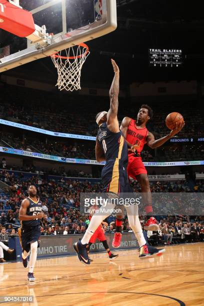 AlFarouq Aminu of the Portland Trail Blazers goes to the basket against the New Orleans Pelicans on January 12 2018 at the Smoothie King Center in...
