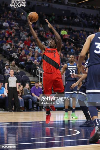 AlFarouq Aminu of the Portland Trail Blazers goes to the basket against the Minnesota Timberwolves on January 14 2018 at Target Center in Minneapolis...