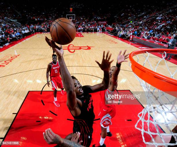 AlFarouq Aminu of the Portland Trail Blazers goes to the basket against the Houston Rockets on April 5 2018 at the Toyota Center in Houston Texas...