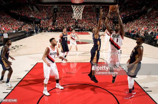 AlFarouq Aminu of the Portland Trail Blazers goes to the basket against the New Orleans Pelicans in Game Two of the Western Conference Quarterfinals...