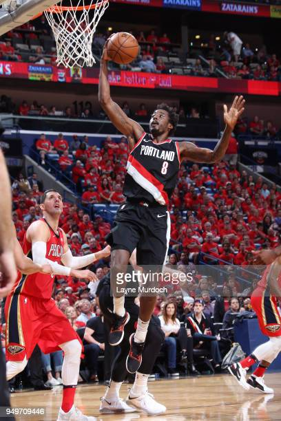 AlFarouq Aminu of the Portland Trail Blazers goes to the basket against the New Orleans Pelicans in Game Four of Round One of the 2018 NBA Playoffs...