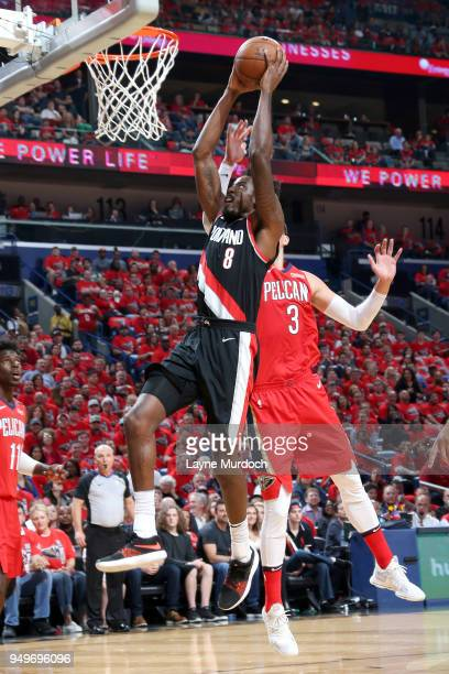 AlFarouq Aminu of the Portland Trail Blazers goes up for a dunk against the New Orleans Pelicans in Game Four of Round One of the 2018 NBA Playoffs...