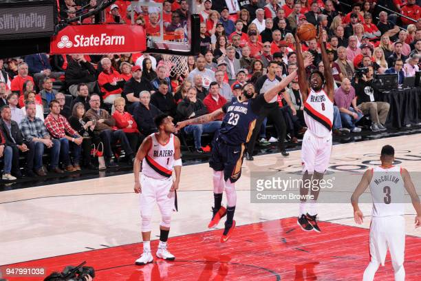 AlFarouq Aminu of the Portland Trail Blazers grabs the rebound against the New Orleans Pelicans in Game Two of Round One of the 2018 NBA Playoffs on...