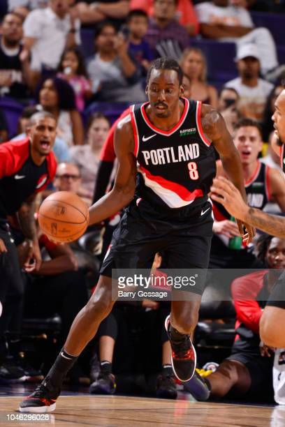 AlFarouq Aminu of the Portland Trail Blazers handles the ball against the Phoenix Suns during a preseason game on October 5 2018 at Talking Stick...