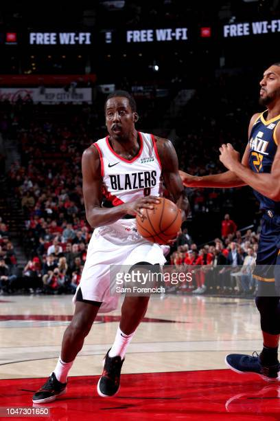 AlFarouq Aminu of the Portland Trail Blazers handles the ball against the Utah Jazz during a preseason game on October 7 2018 at the Moda Center in...
