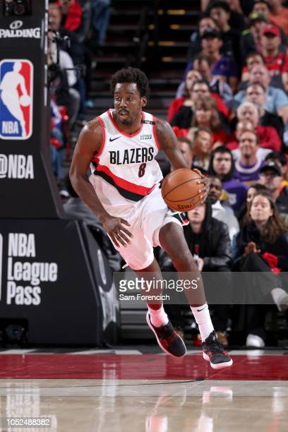 AlFarouq Aminu of the Portland Trail Blazers handles the ball against the Los Angeles Lakers on October 18 2018 at the Moda Center in Portland Oregon...