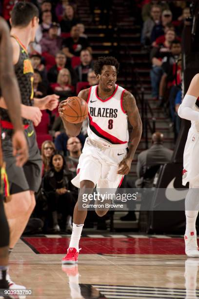 AlFarouq Aminu of the Portland Trail Blazers handles the ball against the Atlanta Hawks on January 5 2018 at the Moda Center Arena in Portland Oregon...