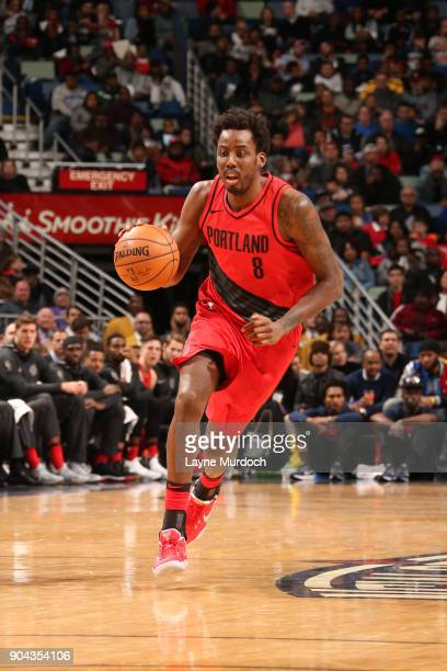 AlFarouq Aminu of the Portland Trail Blazers handles the ball against the New Orleans Pelicans on January 12 2018 at the Smoothie King Center in New...