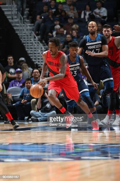 AlFarouq Aminu of the Portland Trail Blazers handles the ball against the Minnesota Timberwolves on January 14 2018 at Target Center in Minneapolis...